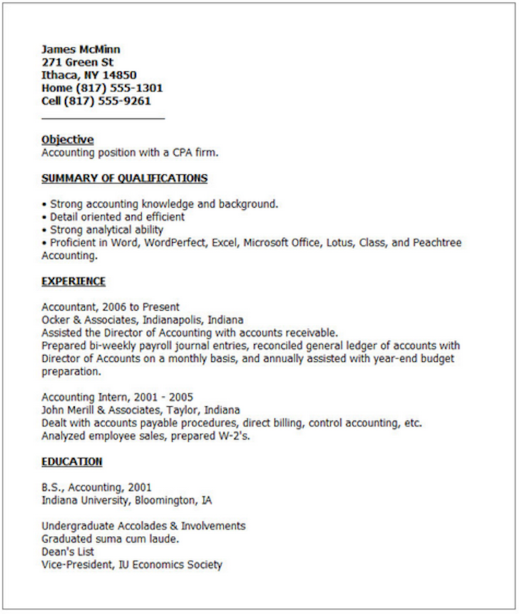 Accounting Internship Resume Objective Bridget Ferguson Bferguson1661 On Pinterest