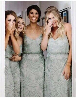 (eBay Ad) ADRIANNA PAPELL Beaded Sequin Mesh Blouson Sage Green Bridesmaid Dress UK 10 12 #sagegreenbridesmaiddresses