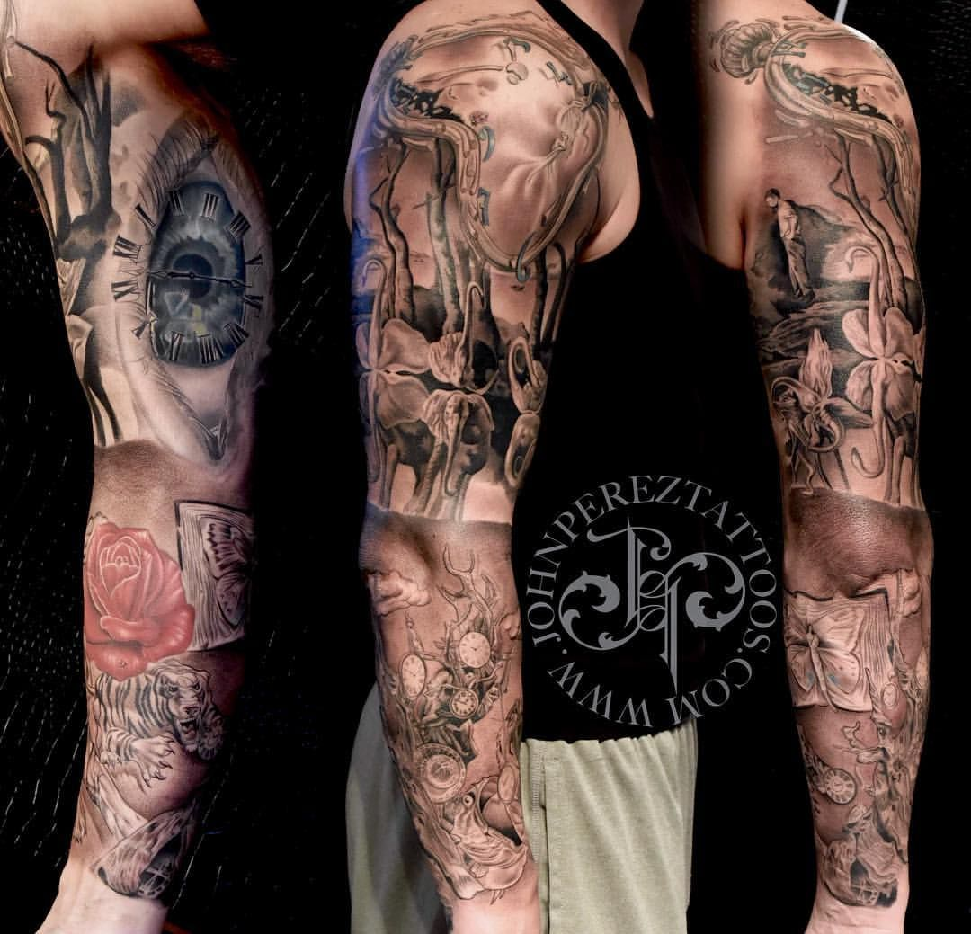 salvador dali tattoo black and grey realism tattoo full sleeve tattoo john perez black and. Black Bedroom Furniture Sets. Home Design Ideas