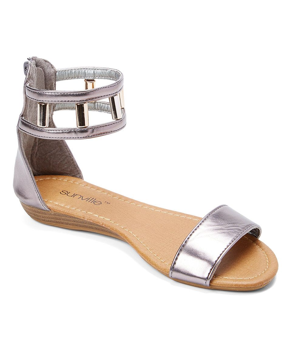 Take a look at this Star Bay Pewter Dual-Strap Sandal today!