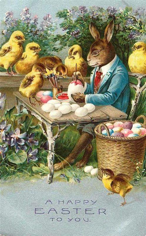 Старинные пасхальные открытки с кроликами, открытка