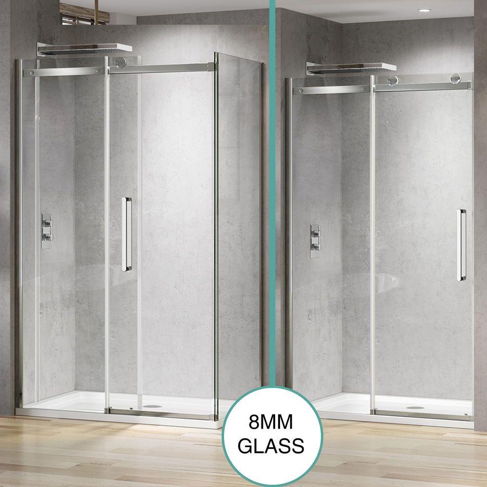 Modern Frameless Shower Enclosure Sliding Glass Cubicle Screen Side ...