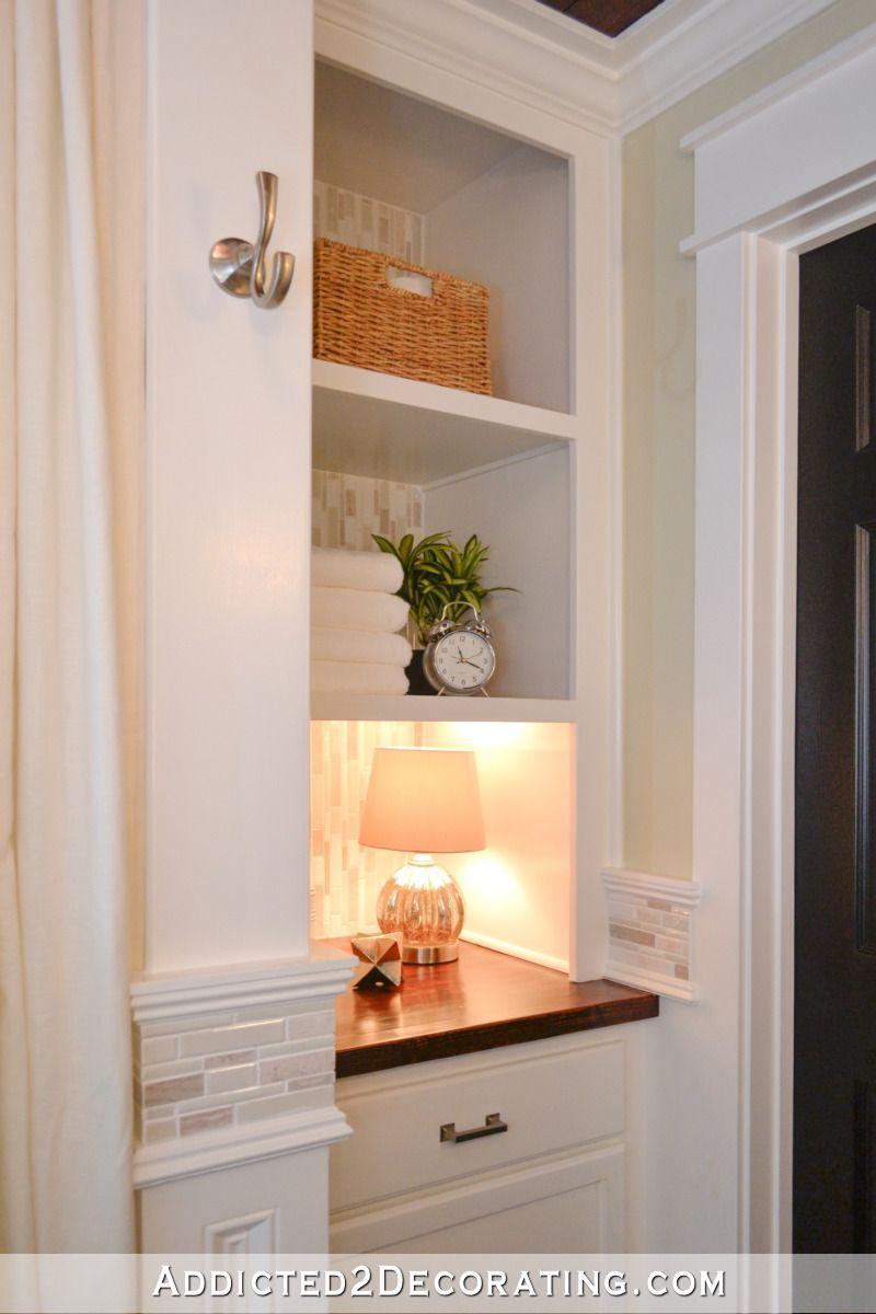 Cabinet And Open Shelves Built To Replace An Original Linen Closet In A Small Bathroom Closet Remodel Rustic Bathroom Remodel Bathrooms Remodel