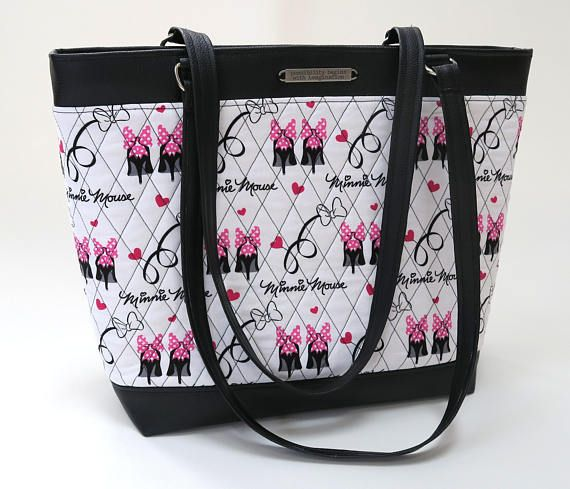 Disney Handmade Quilted Fabric Work Computer Bag Tote Or Purse Made From