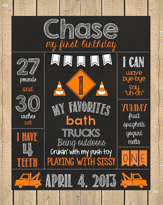 First Birthday Chalkboard Poster // Truck Birthday Chalkboard // Construction Party on Etsy
