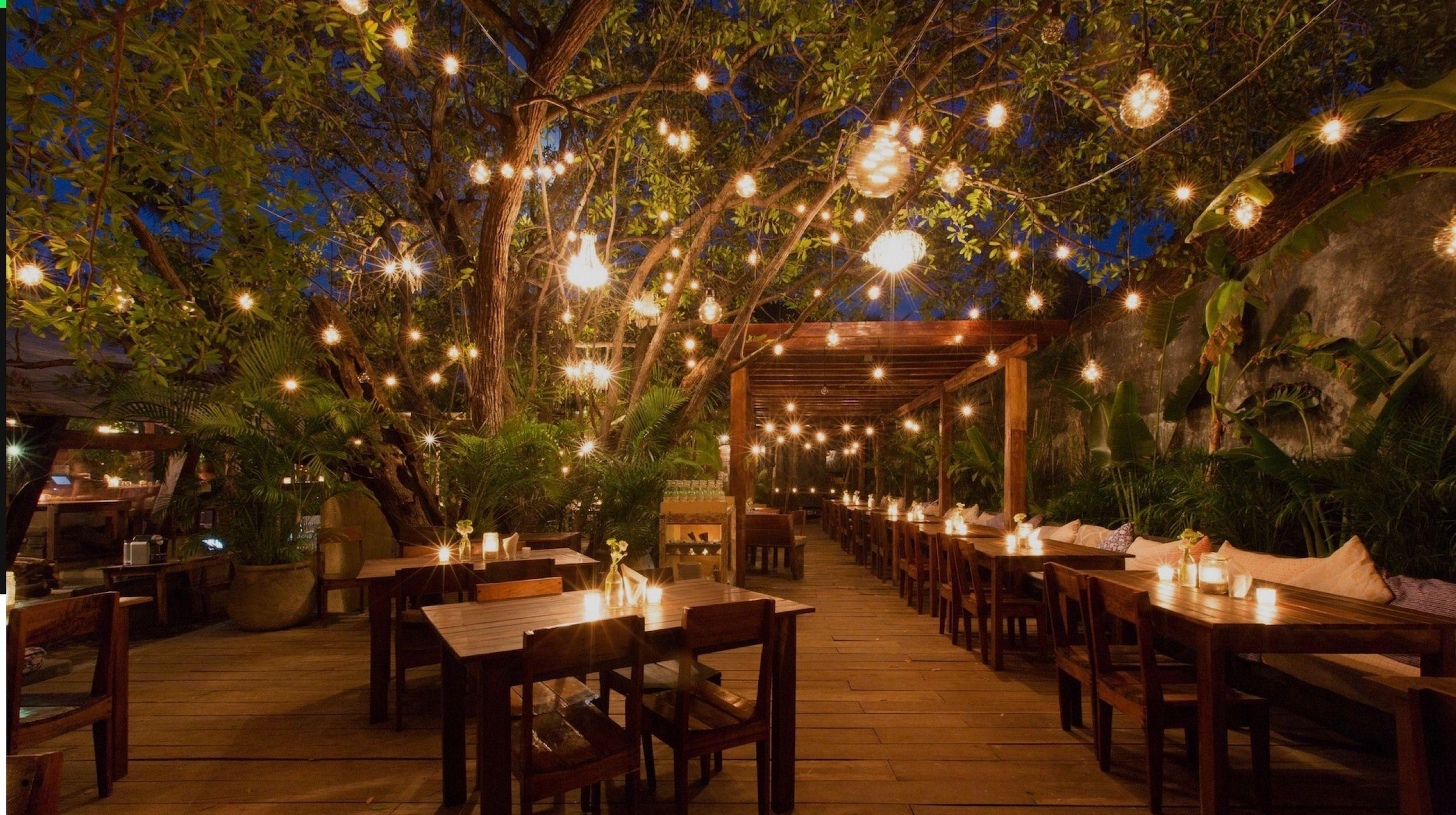 Tulum Jungle Party Rooftop Lighting Outdoor Restaurant Beer Garden Dining
