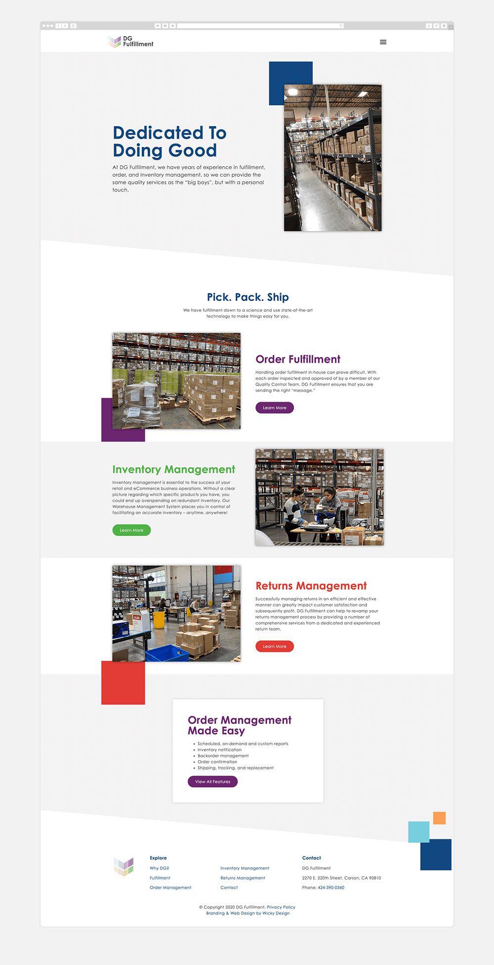 Dg Fulfillment Wicky Design In 2020 Wordpress Web Design Custom Web Design Wordpress Website Design