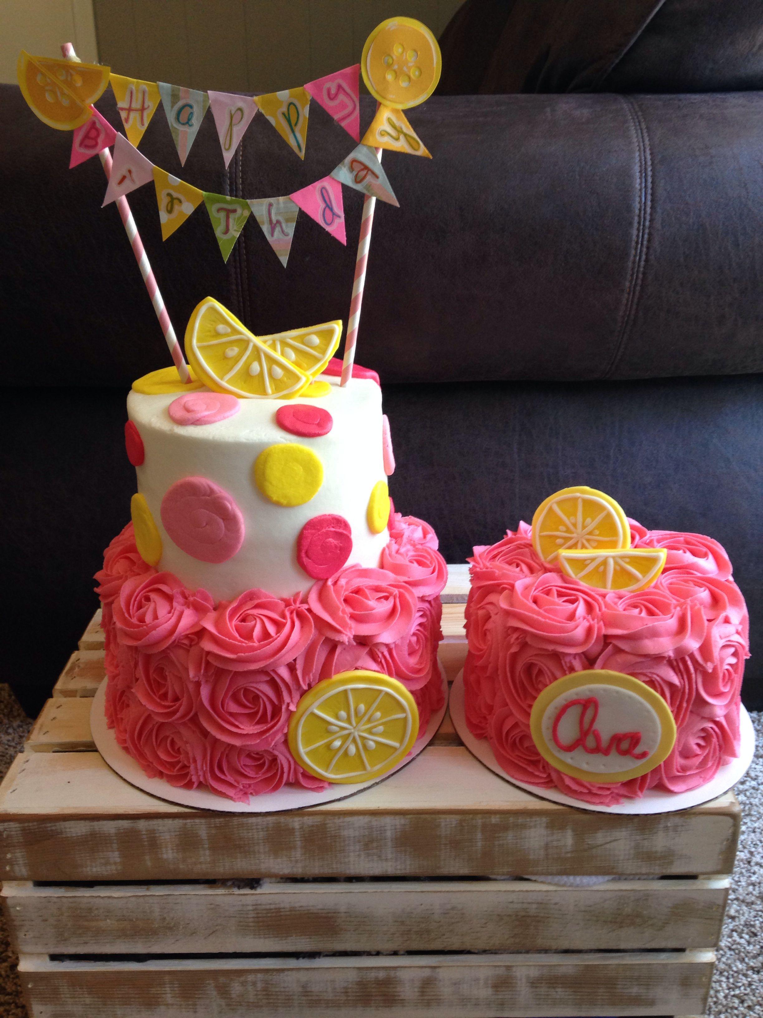 Awesome Girls 1St Birthday Pink Lemonade Party Banner Fondant Lemons Funny Birthday Cards Online Drosicarndamsfinfo