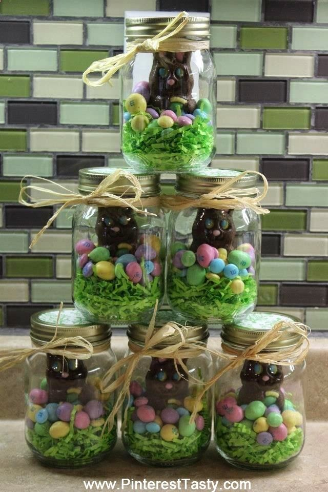 That easter gift idea is great gift ideas pinterest easter these will be my easter gifts mason jar easter chocolate gift filled with eggs chicks a chocolate bunny can put colored krispie treats in bottom or use negle Image collections