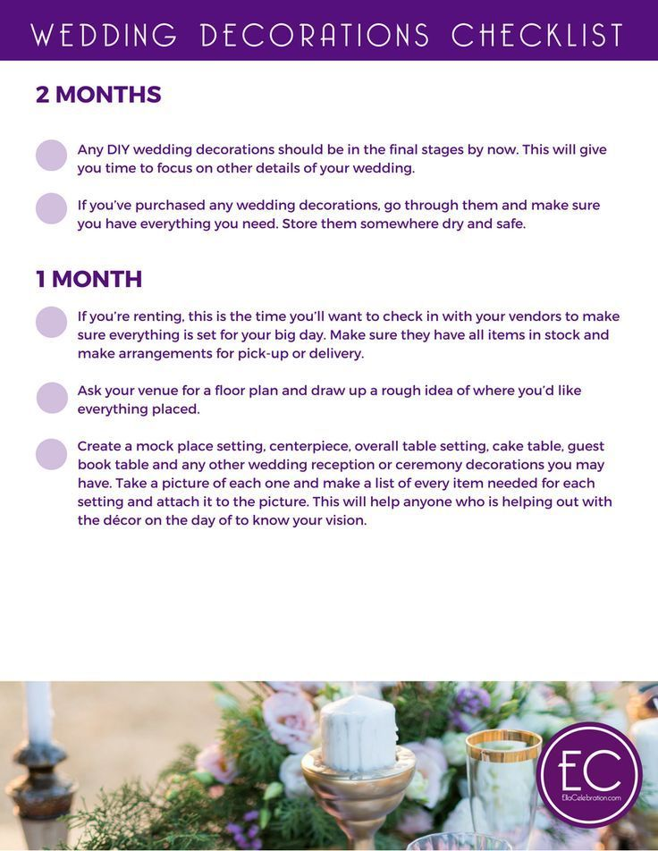 Weve compiled this detailed complete checklist to help you narrow weve compiled this detailed complete checklist to help you narrow down your wedding decorations choices and give you a month by month plan of wh junglespirit Image collections