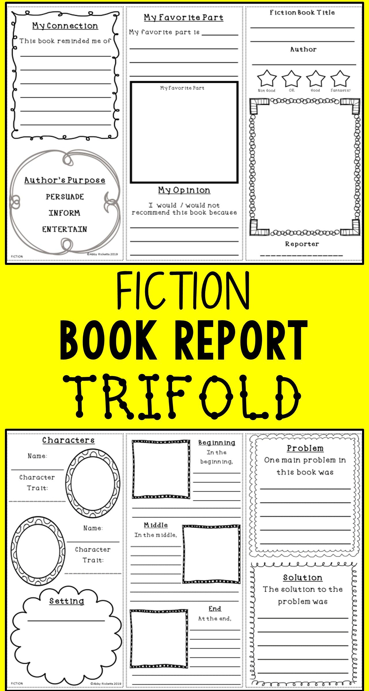 Fiction Book Report Trifold Or Brochure With Images