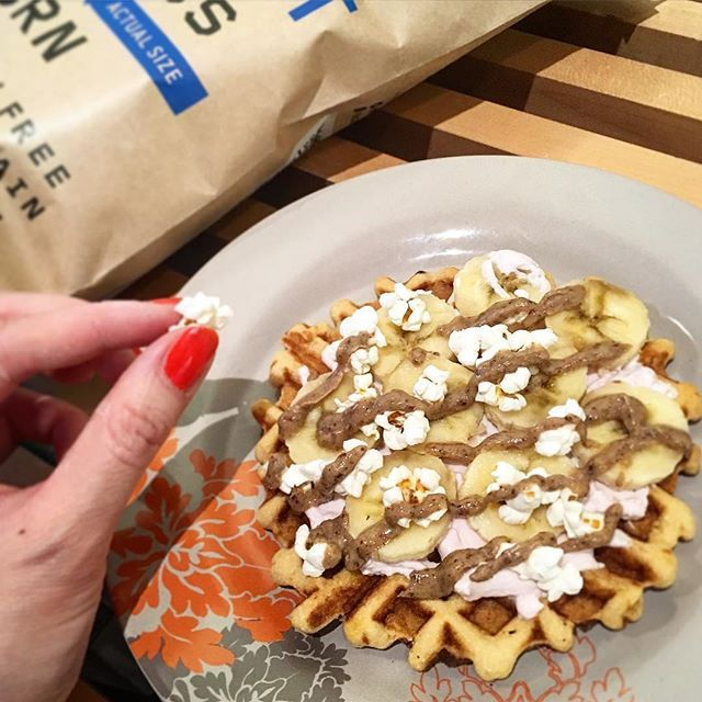 Pipcorn topped waffles  What could be better?! Check out how to make @Lucky__Peach's #Recipip by visiting her page! https://www.instagram.com/p/BCgfT3tjHKO/?taken-by=lucky__peach