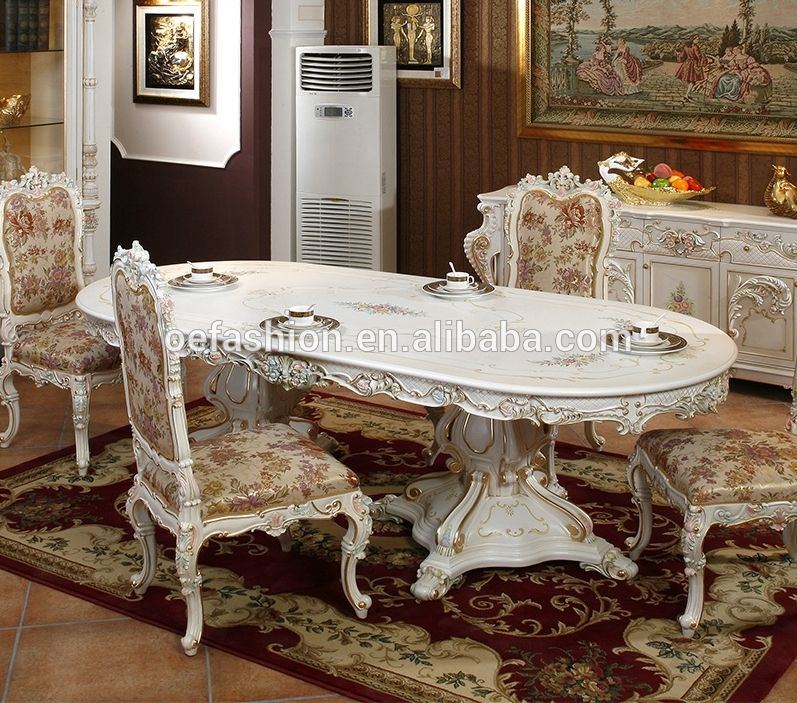Oe Fashion Baroco Style White Solid Wood Carving Dining Table For