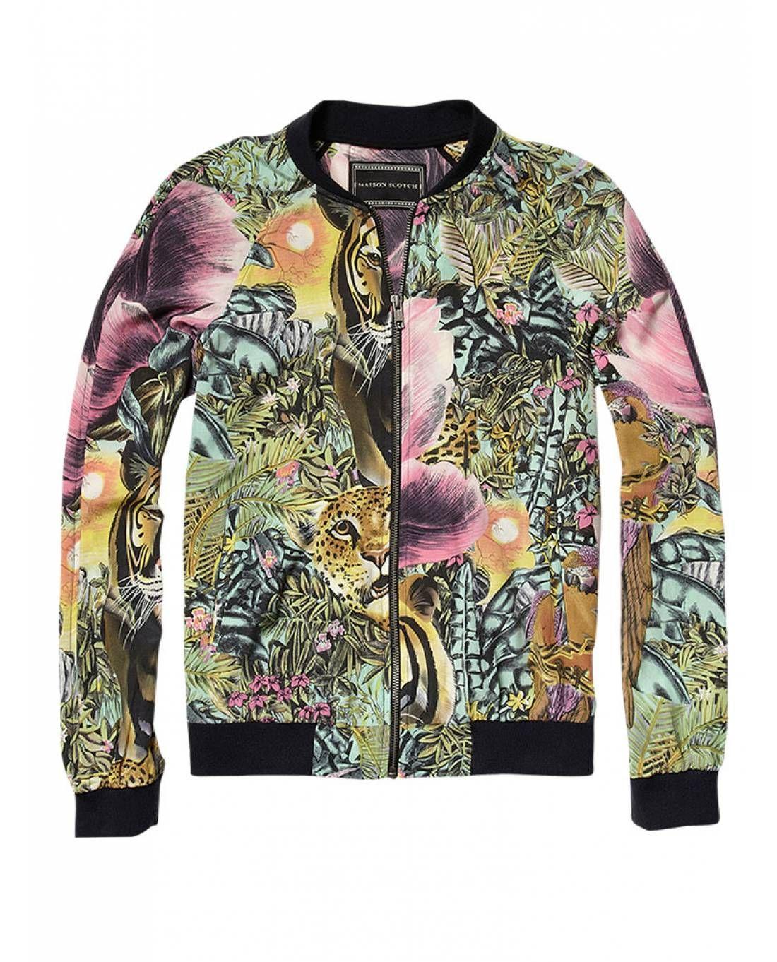 ba82604c093845 Tropical printed silky bomber jacket - Jackets - Scotch   Soda Online  Fashion   Apparel Shop
