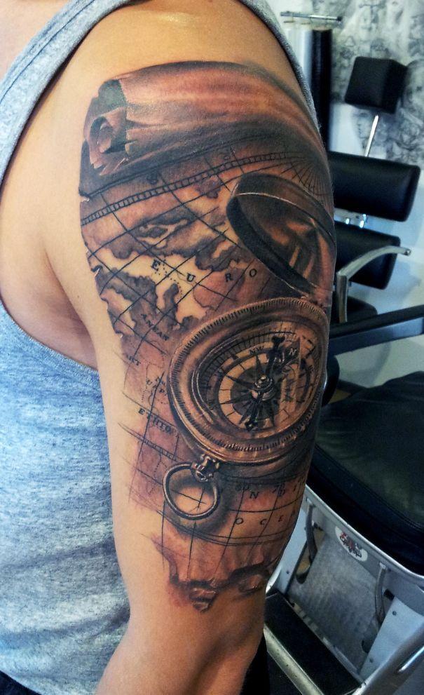 i m a tattoo artist from latvia tattoo designs pinterest map tattoos bored panda and compass. Black Bedroom Furniture Sets. Home Design Ideas