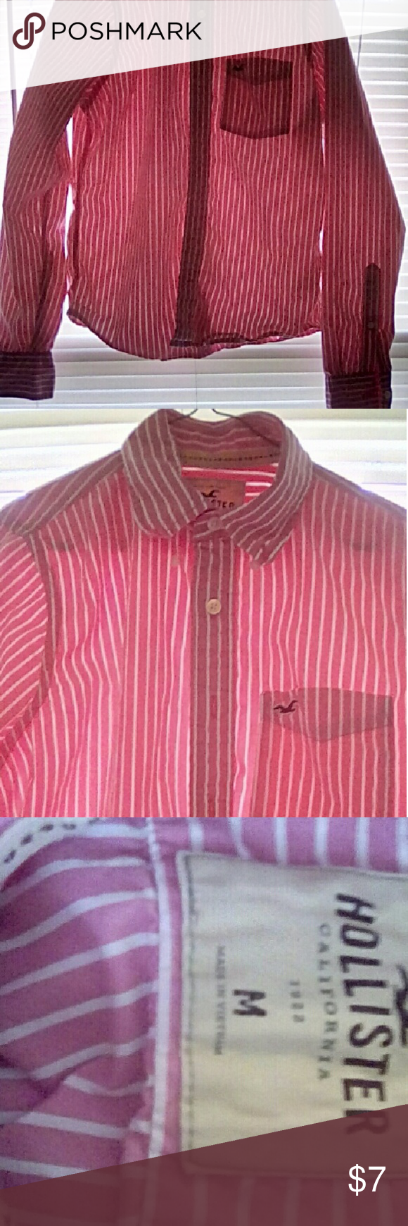 Pink/white stripe button up. Gently used. Hollister Co. Pink/white stripe button up in great condition. Hollister Shirts Casual Button Down Shirts