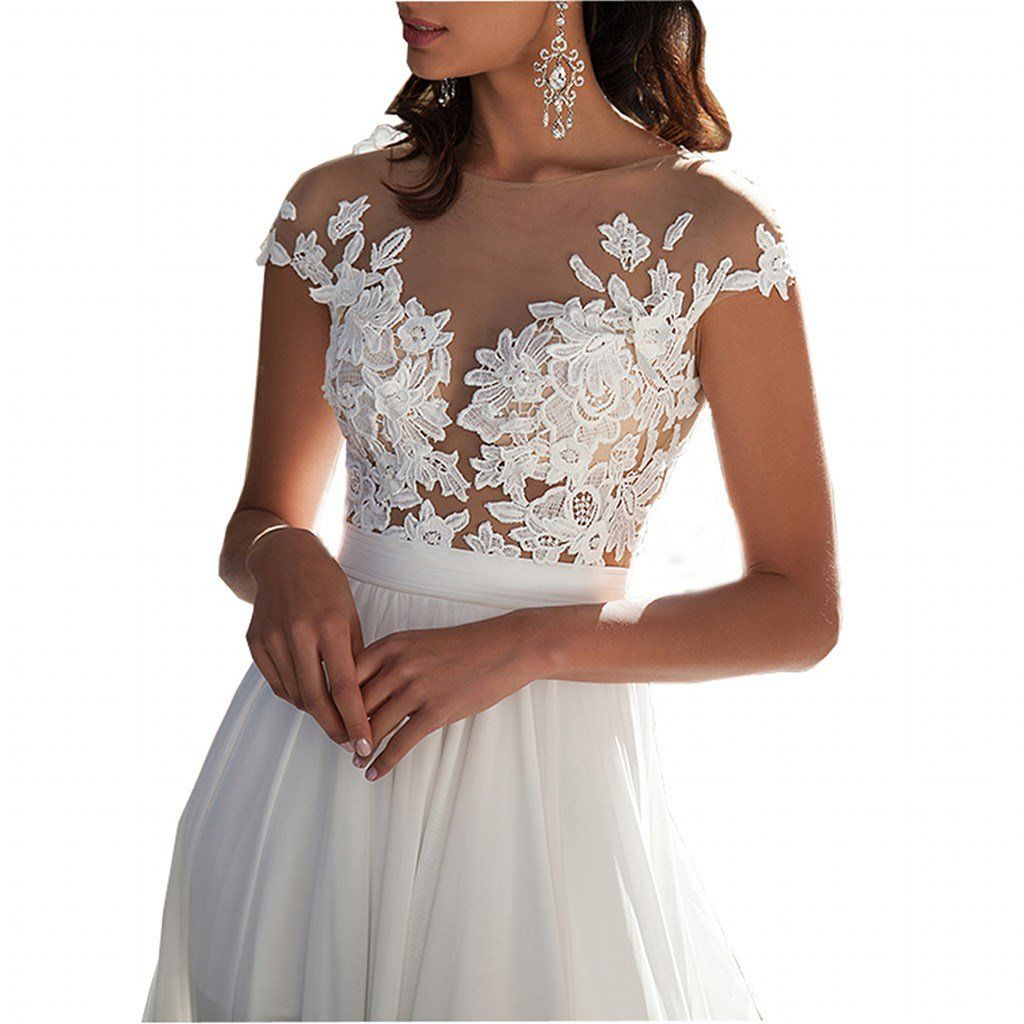 Chady Chiffon Beach Wedding Dress 2016 Lace Back Long Tail Gowns Bride Dresses For Weddings Continue To The Product At Image Link