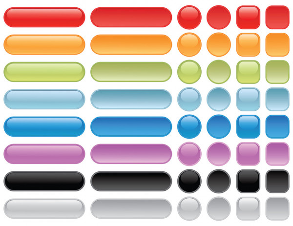 Blank Web Buttons Pressed And Unpressed Button State Eps 8 Cmyk With Global Colors Vector Illustration