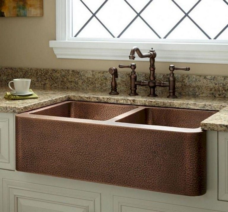 70 Elegant Farmhouse Kitchen Sink Decor Ideas Page 32 Of 73 Copper Farmhouse Sinks Farmhouse Sink Kitchen Copper Kitchen Sink Farmhouse