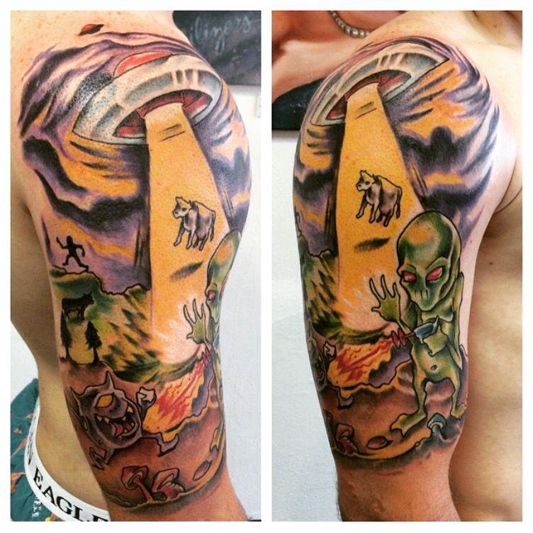 0b4371b87 Alien Invasion tattoo! Start of an alien themed sleeve. Aliens exist ...