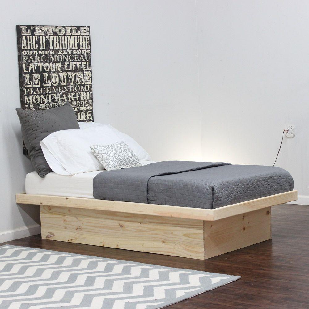 Twin Platform Bed In Pine Platform Bed Twin Platform Bed Platform Bed Frame Twin mattress for platform bed