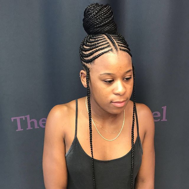Don T Like The Forward Braids In The Side But Otherwise So Cute Quick Braided Hairstyles Hair Styles Braids For Black Women