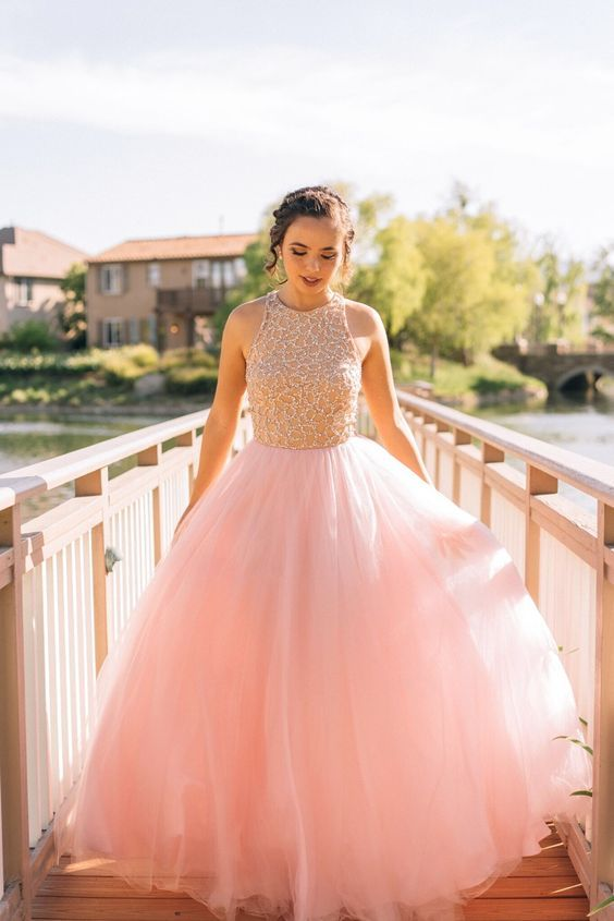 New Arrival Round Neck Pink Floor-Length Prom Dress with Beading a0dcacf9ad7a
