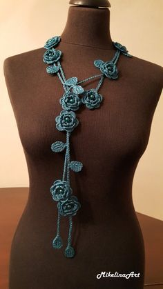 Crochet Rose Necklace,Crochet Neck Accessory, Flower Necklace, Biscay Bay Colour,Turquoise, 100% Cotton