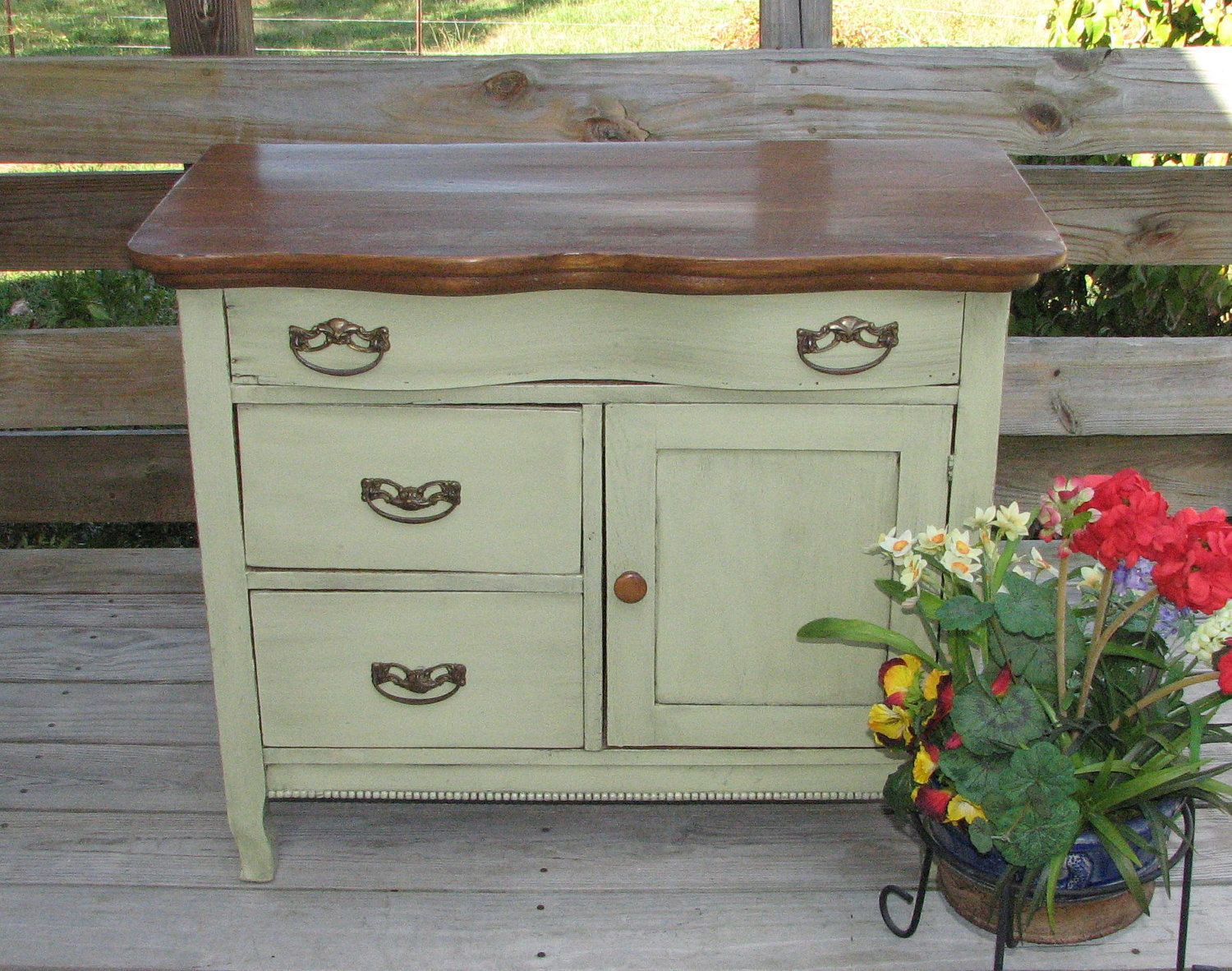 Upcycled antique oak washstand dry sink commode by shabby for Commode style shabby chic