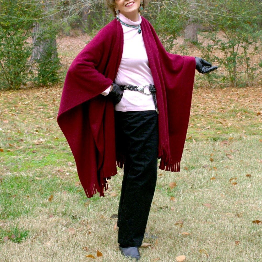 Wrap Poncho Blanket Scarf Or Shawl With Fringe In Anti Pill Fleece Burgundy Or Wine Color Lightweight Warmth One S Blanket Scarf Fleece Shrug For Dresses