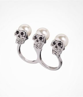 0557dbcf1 Pearl Capped Skull Two Finger Ring on shopstyle.com | Jewelry ...