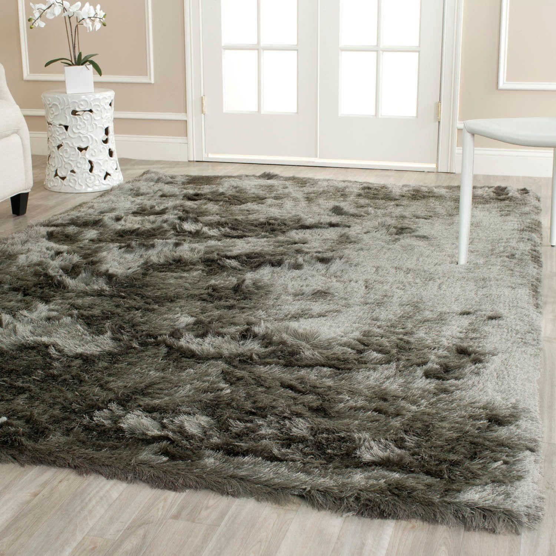 Safavieh Silken Paris Shag Titanium Shag Rug (5' x 5' Square) ((5 ft. Square)), Silver, Size 5' x 5'