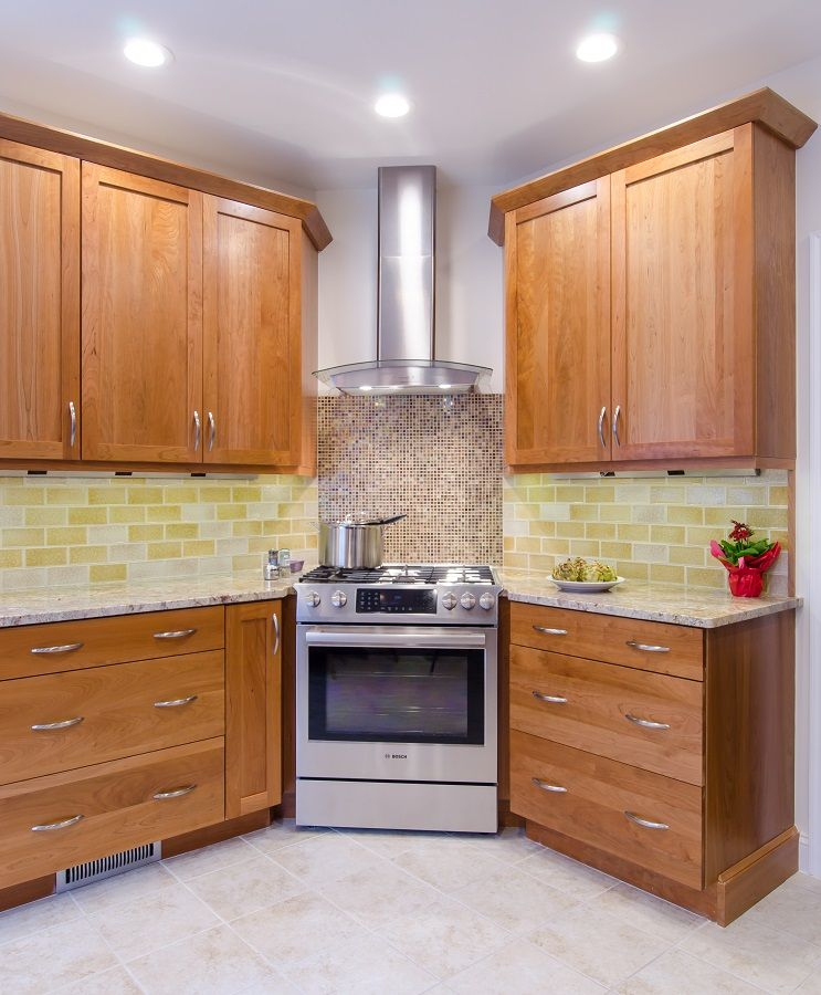 Kitchen Backsplash Cherry Cabinets: Natural Cherry Cabinetry, Granite