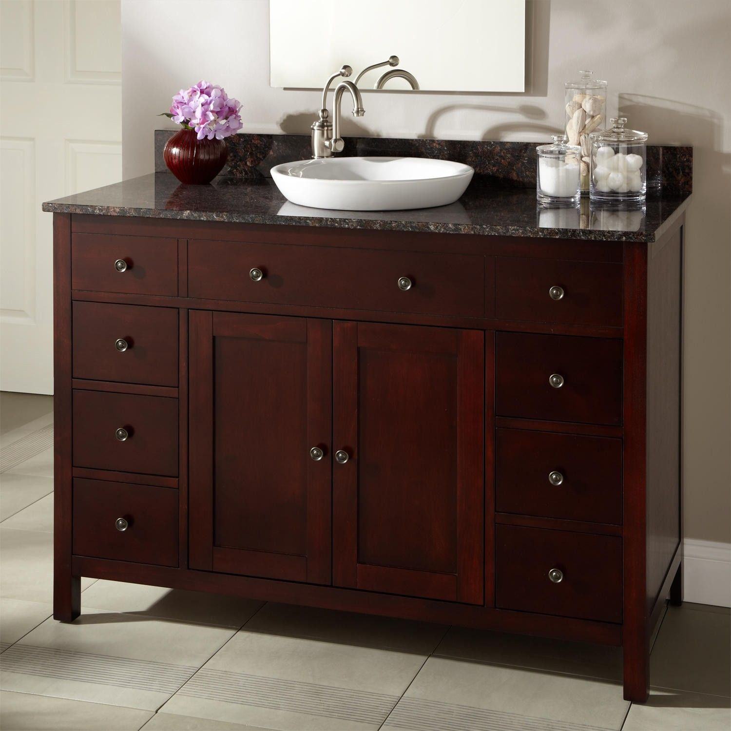 "48"" Vargas Cherry Vanity For Semirecessed Sink  Master Bath Brilliant Cherry Bathroom Vanity Design Ideas"