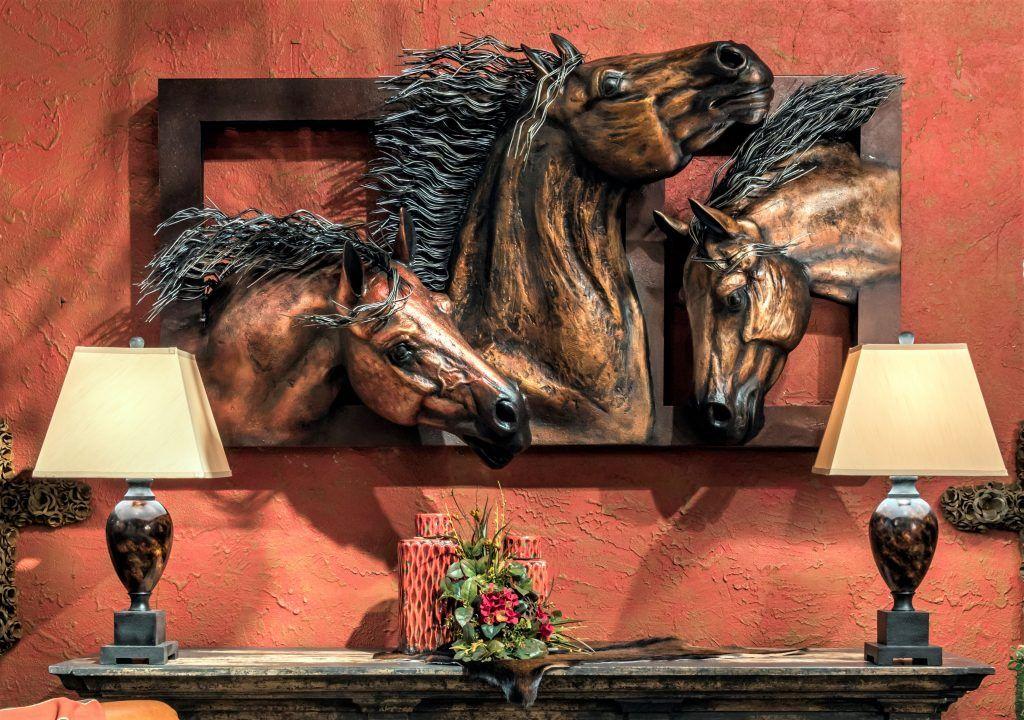 Large Metal Wall Art 3d Bronze Trio Of Horses Horses Wall