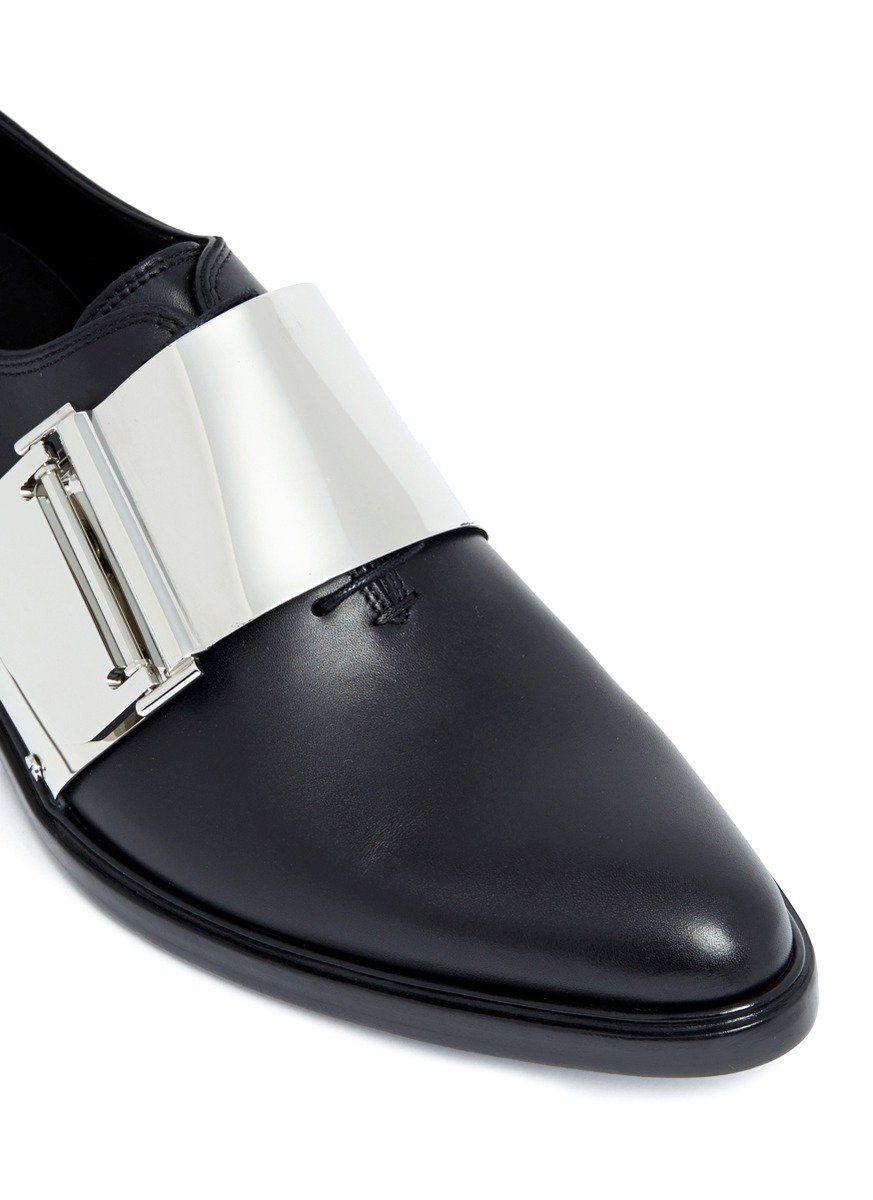 Footgift Cuir Bout Avec En Chaussure Noire Homme Boucles Pointu UqUr0