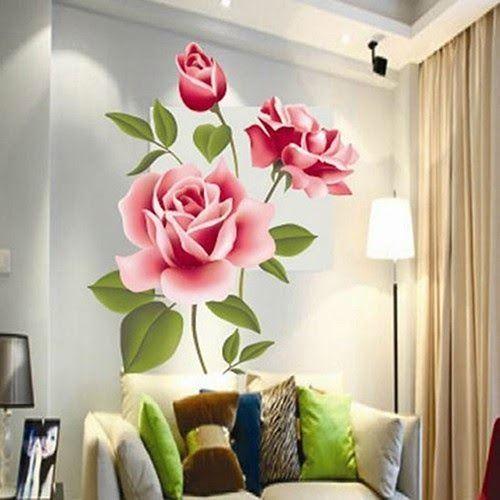 30 Gambar Lukisan Bunga Di Tembok Stiker Dinding Diy Motif Bunga Mawar Untuk Dekorasi Bagian Belakang Tv Di Rumah Lukisan Bunga Dinding Bunga Decal Dinding