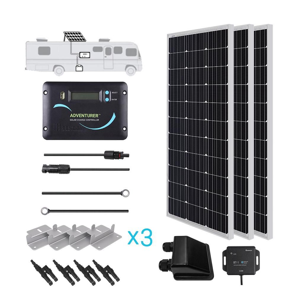 Renogy 300 Watt 12 Volt Monocrystalline Solar Rv Kit For Off Grid Solar System Rv300d Adv30 The Home Depot Off Grid Solar Solar Panels Off Grid Solar Panels