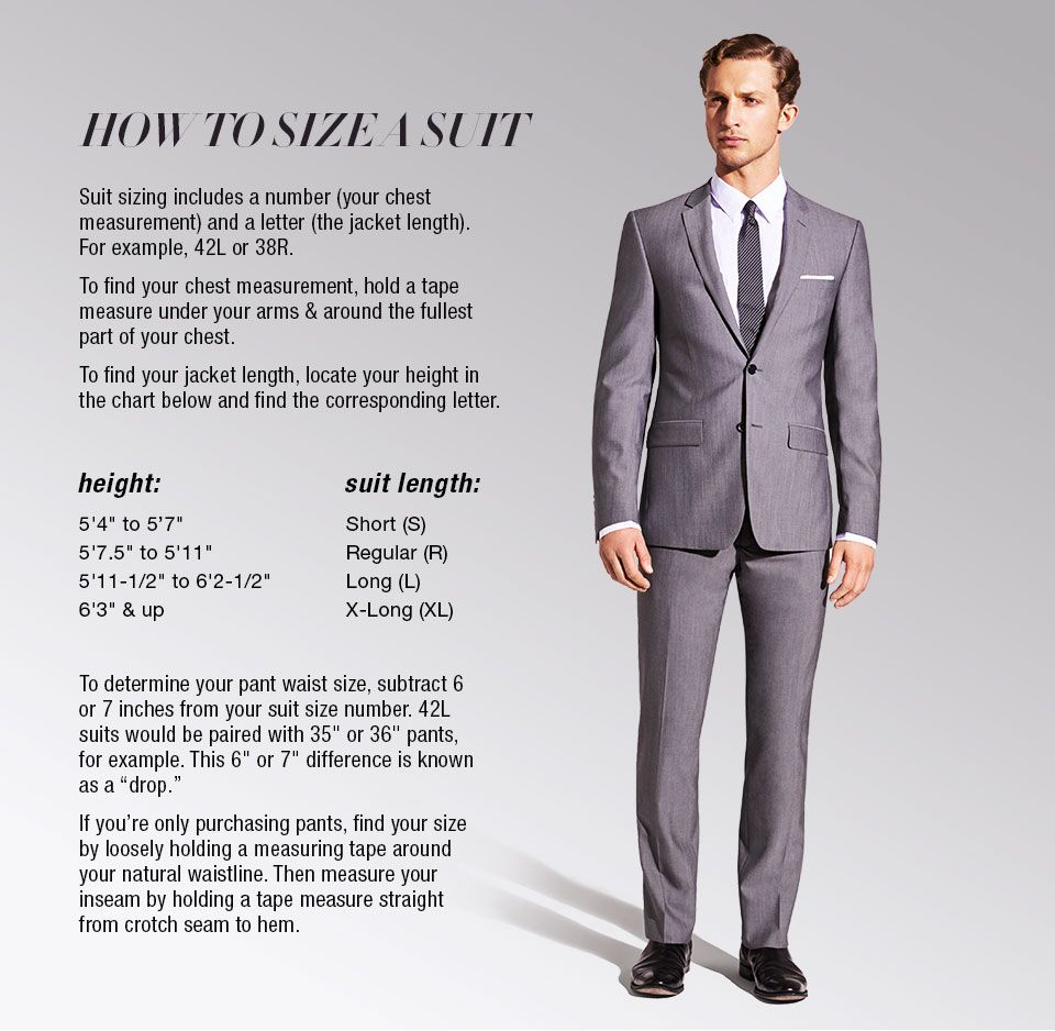 How To Size A Suit Suit Sizing Includes A Number Your Chest Measurement And A Letter The Jacket Length For Example Mens Suit Fit Suit Fit Guide Mens Suits