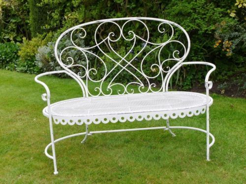 Delightful Shabby Chic Vintage Style White Metal Wrought  · Metal Garden  BenchesMetal ...