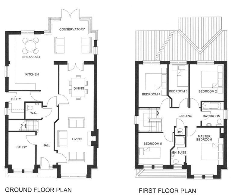 Five Bedroom House Plans Two Story | Unique House Floor Plans Two Story 5  Bedroom 5