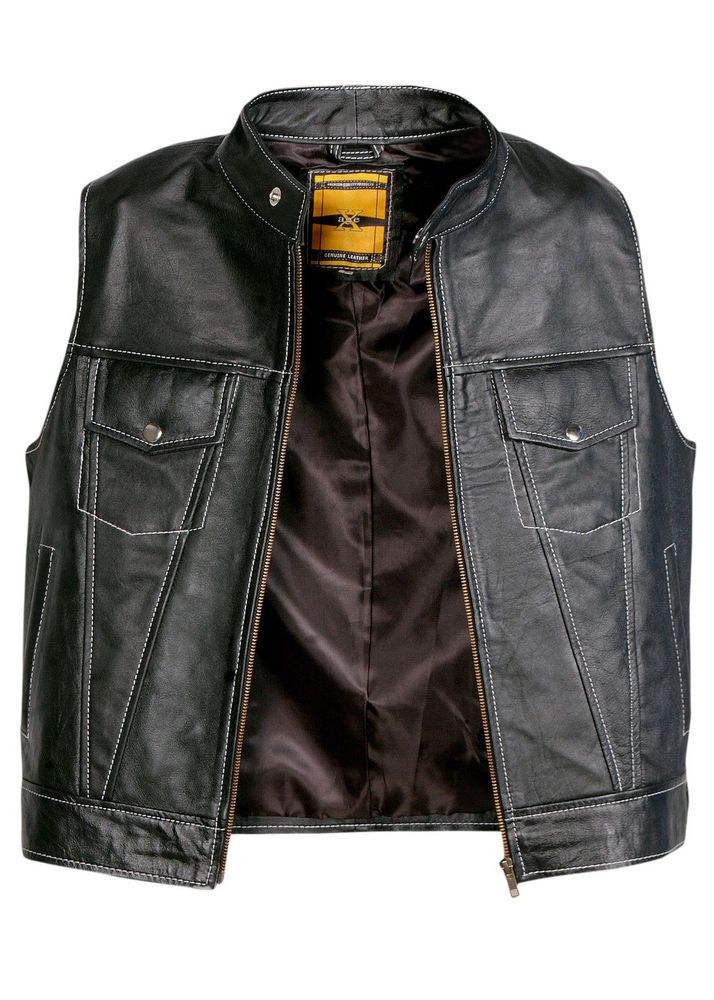 Mens Cut Off Motorcycle Waistcoat Cowhide Leather Black Biker Vest Jacket Vests Ebay Motors