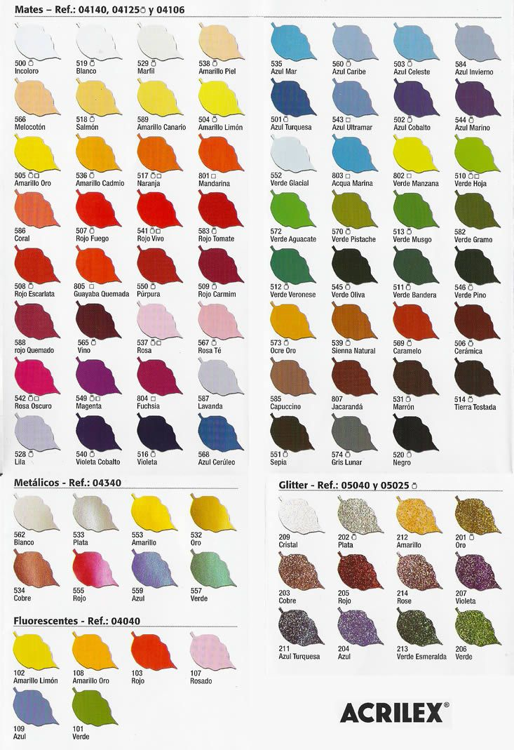 Carta de colores de pintura para tela acrilex arte en for Colores pintura pared 2016