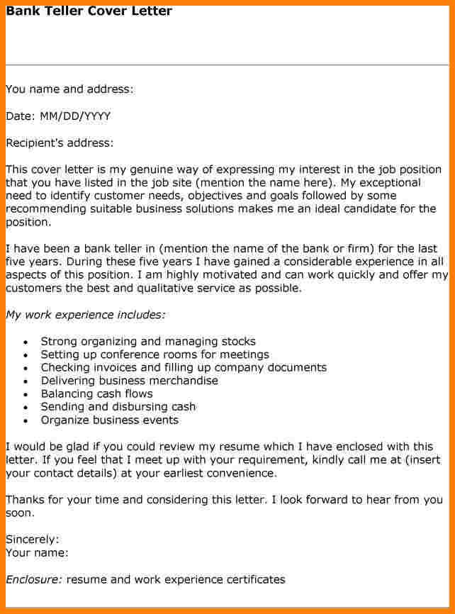 Cover Letter For Bank Tellermple Teller Letterg Template Free