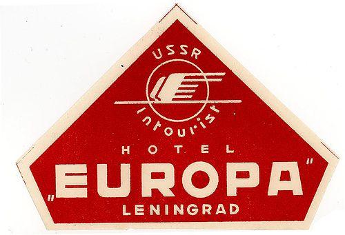 """""""Hotel Europa"""", Leningrad (URSS) - Vintage Luggage Label"""