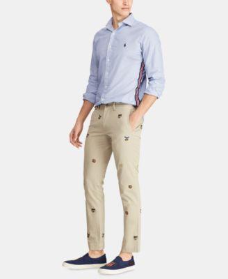 a8a3c369d Polo Ralph Lauren Men s Stretch Slim-Fit Embroidered Chino Pants - Khaki  Tan W  Ralphs Tiger Emb 42x34