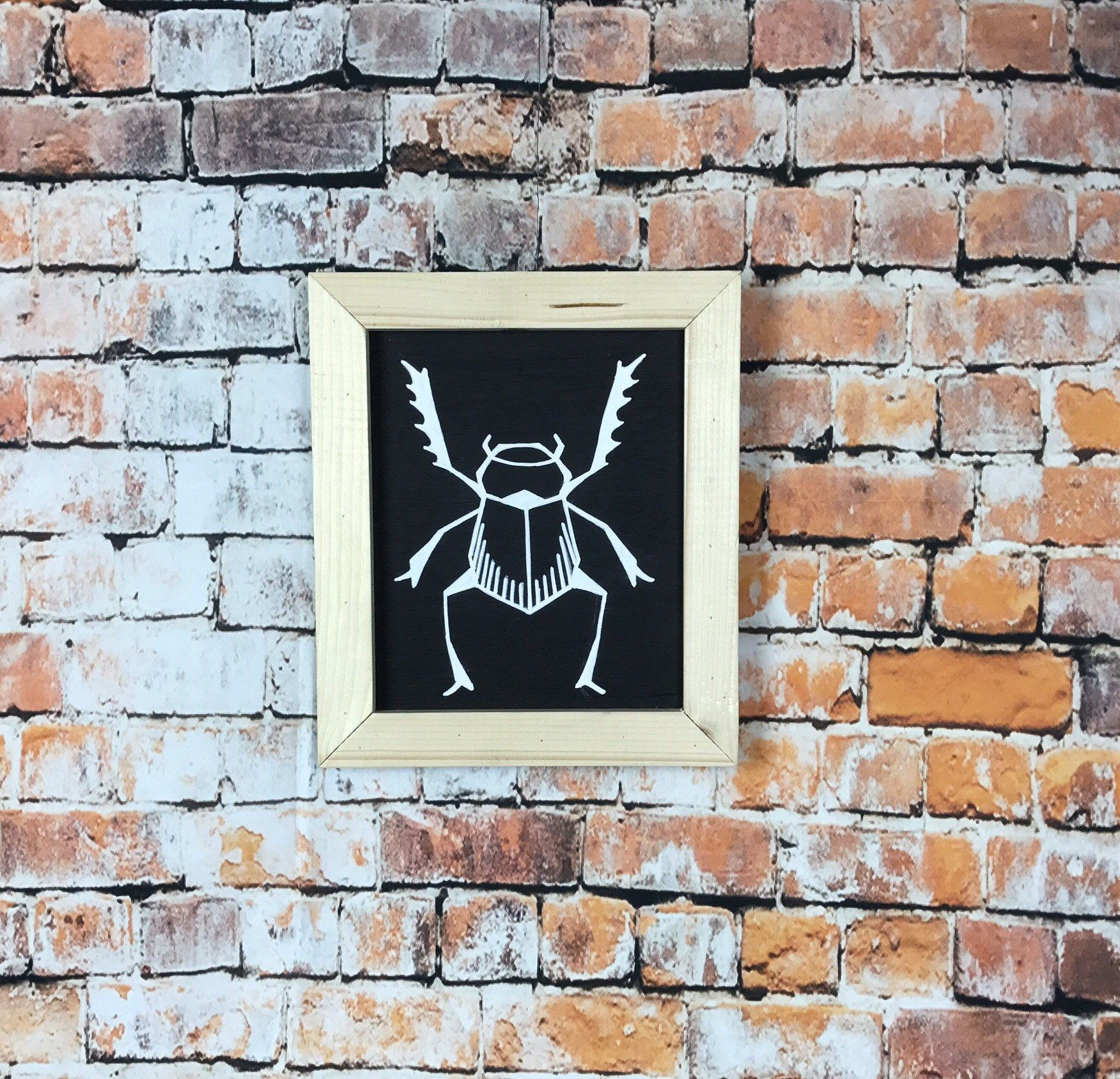 Insect wall decor reclaimed wood frame art beetle art wall wood boho chalk