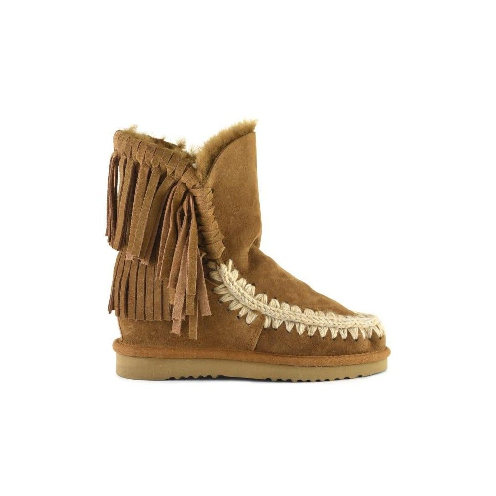 7ee708c87b8f Mou Inner Wedge Short Boots with Fringes Women Cognac