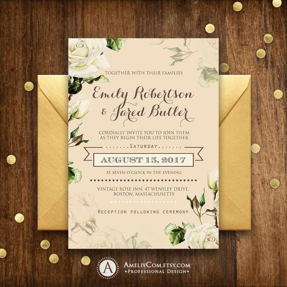 Rustic Wedding Invite Navy Printable Boho Wedding Invitation Template Set RSVP InfoCard Floral Wedding code-036