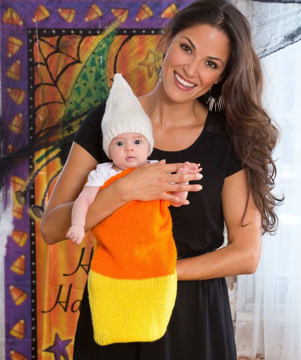 Candy Corn Cocoon & Cap Halloween Knitting Pattern #knit | New, New ...